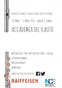 2-3 avril 2016 - Flute Masterclass with Philippe Racine
